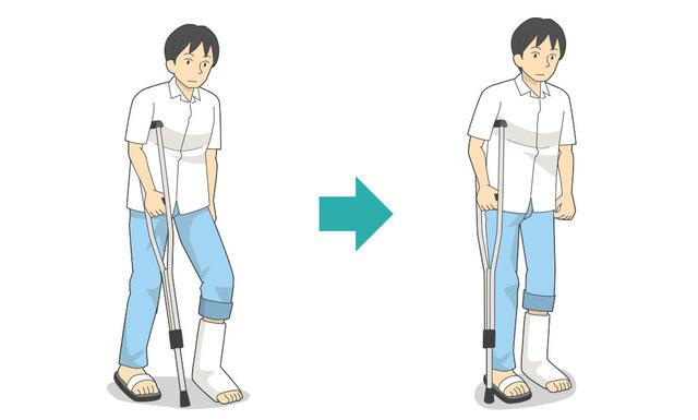 ケガをしていない足側で松葉杖をつく