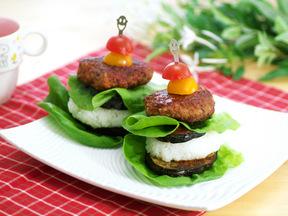 米ナスとご飯・ハンバーグのミルフィーユ風