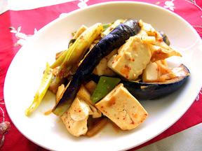 ナスと豆腐の韓国風炒め
