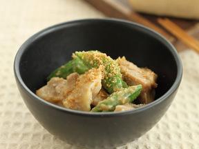 スナップいんげんと蒸し鶏のゴマ風味サラダ