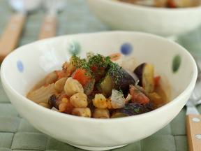 ナスとひよこ豆の簡単煮