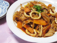 イカとサムギョプサルのピリ辛炒め