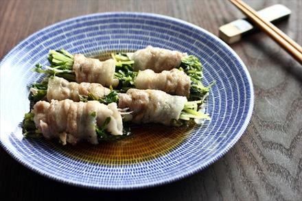 夏野菜と豆苗の豚肉巻き