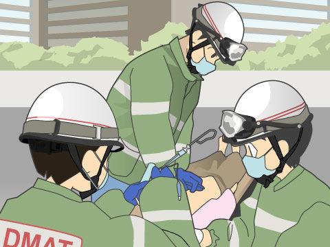 災害時には災害派遣医療チームDMATが派遣される