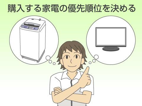購入する家電の優先順位を決める