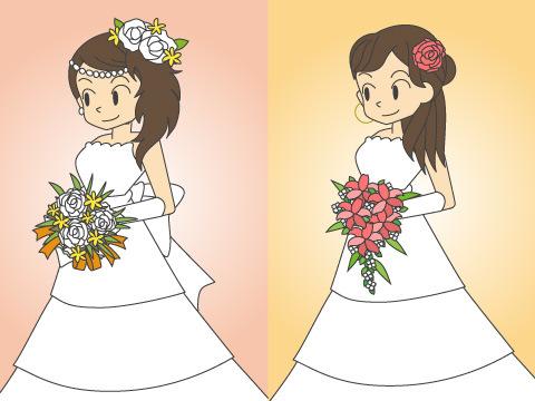 同じドレスを小物でアレンジ