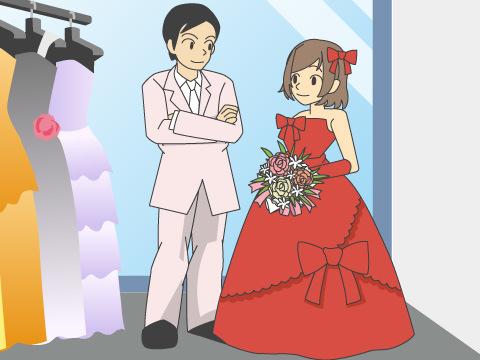 ビビッドカラーのドレス