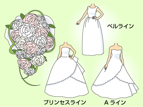 オーバルブーケと相性の良いドレス