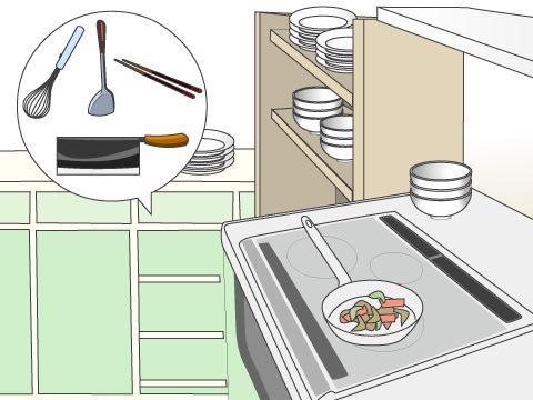 調理器具を使う場所で収納場所を決める