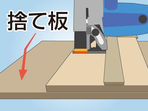 大きな板を切るときは捨て板を用意する