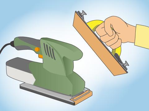 広い面積を磨くときはサンダーを使う