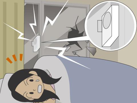 就寝時や外出時に異常を感知し不審者へ警告