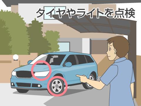 自動車の外部をチェック