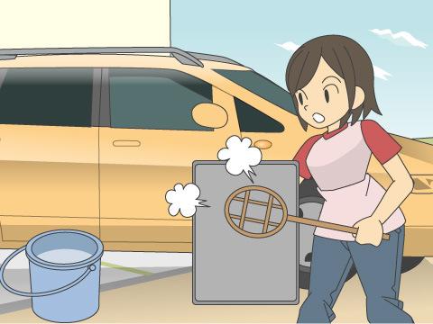 フロアマットの洗浄テクニック