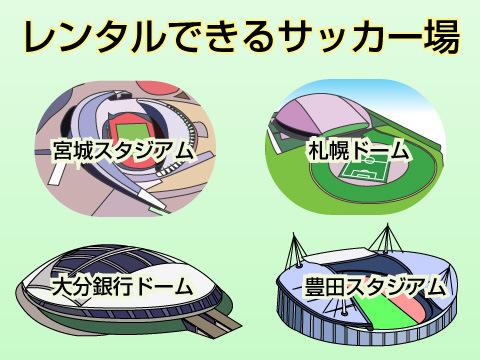 レンタルできる、有名なサッカー場。