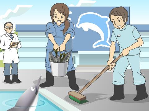獣医さんだって掃除やエサやりも担当する