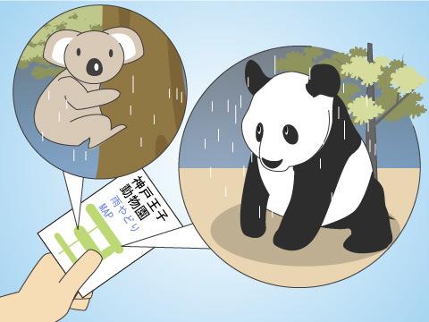 神戸市立王子動物園の「雨やどりマップ」
