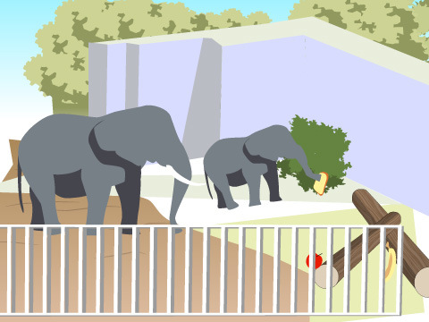 アフリカゾウ舎の餌やりの工夫も必見!