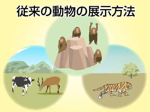 従来の動物の展示方法