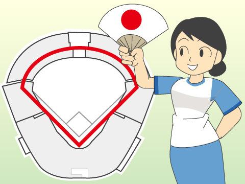 日本で一般的な扇形球場