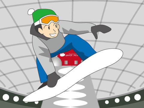 屋内なのに、雪のジャンプ台?
