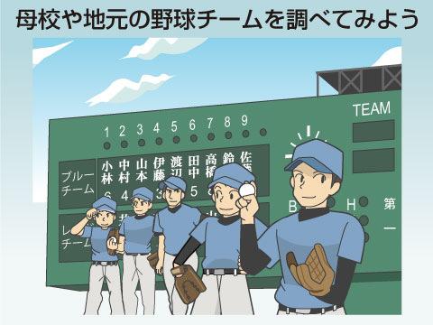 母校や地元の野球チームを調べてみよう