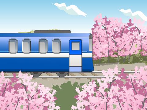 青森をのんびり走るブルーの車両