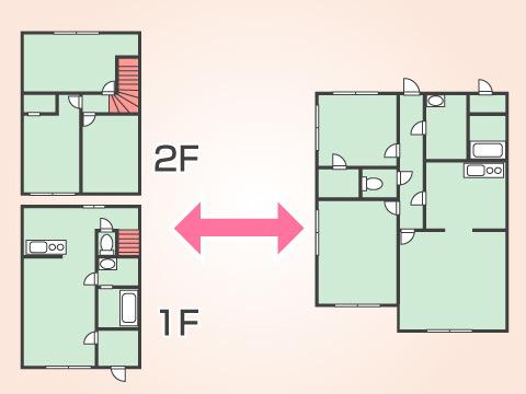 ひとつの住居の中に階段がある部屋