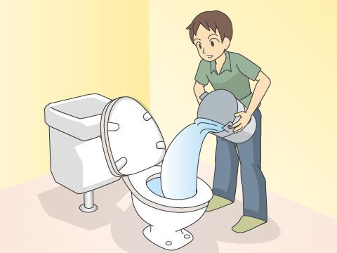 まずは、風呂場などの水を流す