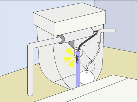 オーバーフロー管を確認する