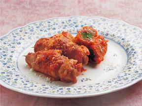 さやいんげんの豚肉巻きトマト煮