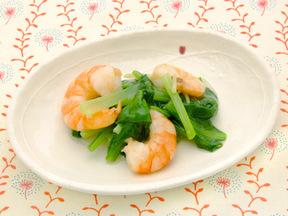小松菜とエビの炒め煮