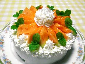 メロンのフレッシュケーキ