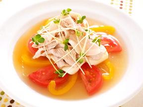 野菜の寒天寄せと豚の冷しゃぶレモン風味