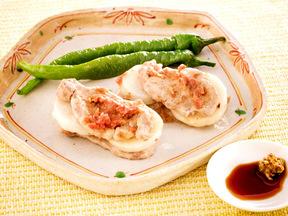 豚ヒレ肉とサトイモの梅肉蒸し
