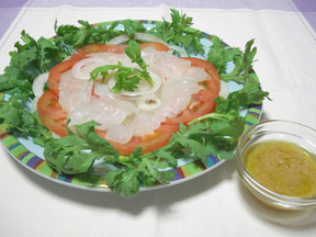 ヒラメのカルパッチョ&ニンニク味噌