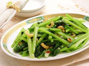 小松菜と干しエビのニンニク炒め