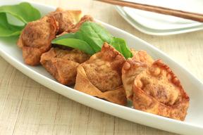 根菜とひき肉のワンタン包み