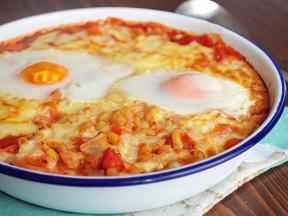 卵とハムのキャセロール
