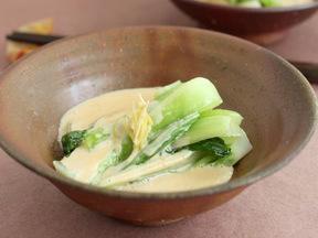 チンゲンサイの味噌クリーム