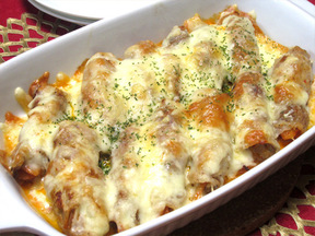 キムチ肉巻きのチーズ焼き