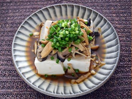 たっぷりきのこの蒸し豆腐