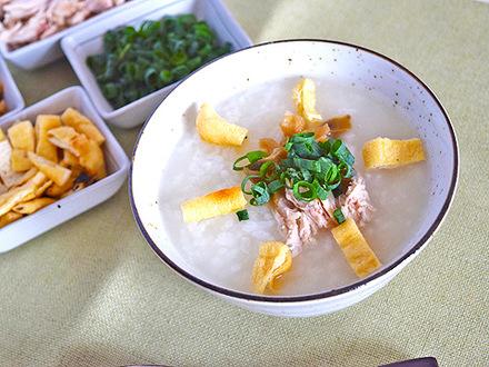 中華粥と炙り油揚げ