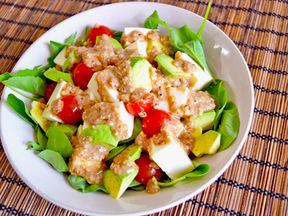 豆腐のサラダ わさび味噌ドレッシング
