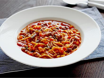トマトとアサリのスープスパゲッティ