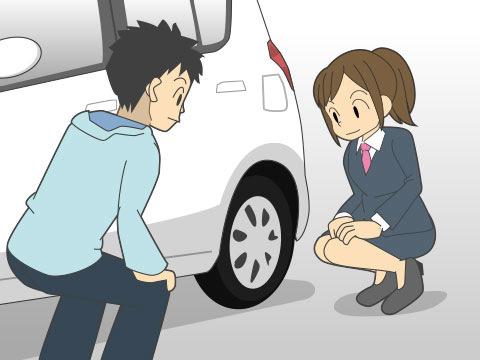 出発前に車の傷などをチェックします