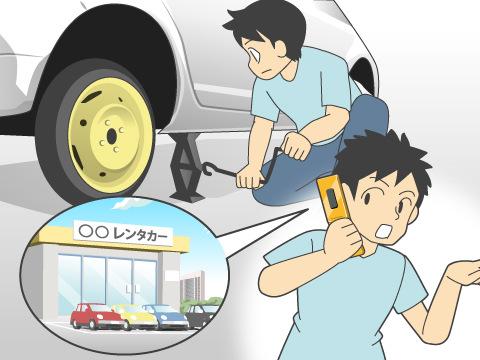 パンクしたタイヤの修理をし、レンタカー会社へ連絡