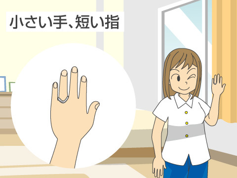 小さい手、短い指