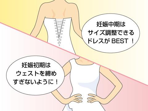 妊娠中期以降はマタニティ用のドレスを