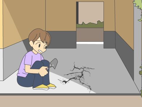 コンクリート床のひびや欠けは早めに補修